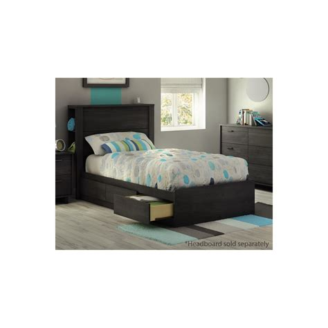 twin bed without headboard south shore fynn grey oak twin mates storage bed without