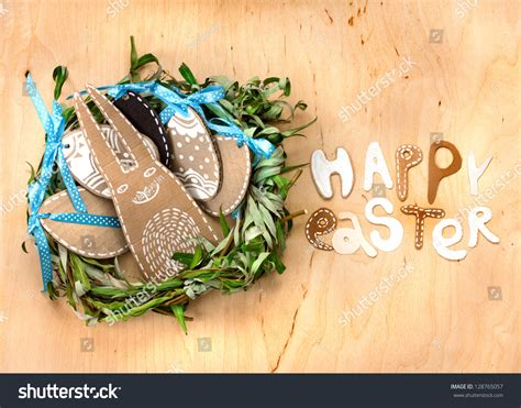 easter background with eggs bunny and lettering quot happy