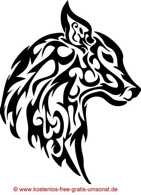tattoo tribal vorlagen tiere tattoobild hund wolf tattoomotive tribal art black