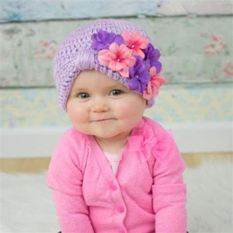 Turban Bayi Flower by Pink And Purple Geranium Petals Turban Baby Hat