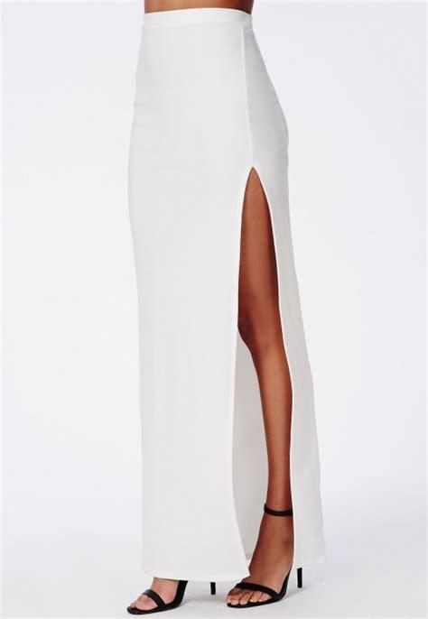 white side split maxi skirt dress