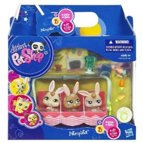 littlest pet shop pet triplets bunnies    reg  finding debra