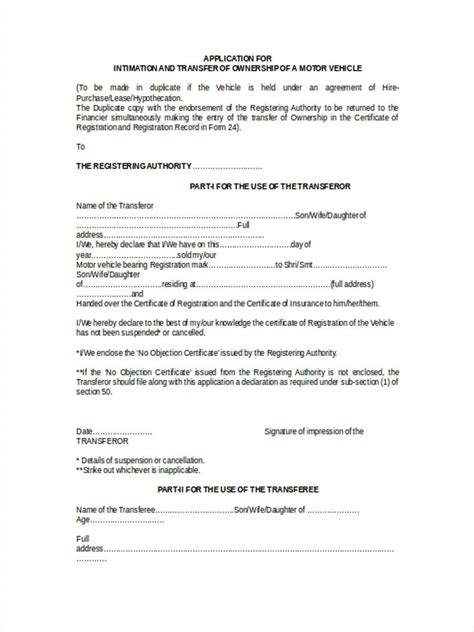 transfer form motor vehicle motor vehicle transfer forms 5 free documents in word pdf