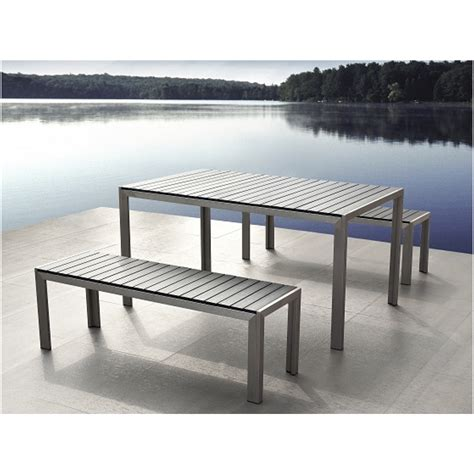 outdoor dining table and bench furniture contemporary teak and metal patio dining table
