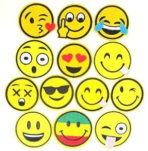 smiley face emoji iron patch whatsapp text message sew