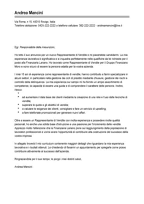 lettere di intenti modello esempio lettera di presentazione rappresentante di vendita