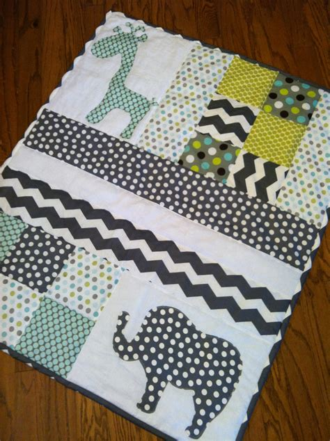 Handmade Applique Quilts - handmade baby quilt with elephant and giraffe applique