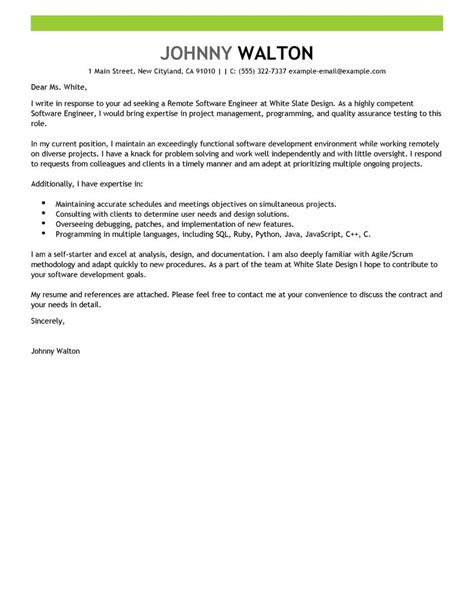 Remote Software Engineer Cover Letter Examples   Computers