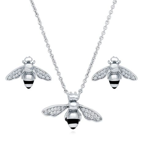 berricle 925 silver bee necklace and earrings set made