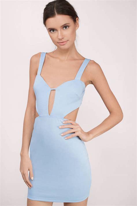Id 2298 Blue Bodycon Dress light blue dress cut out dress beautiful light