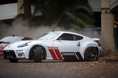 hoonigan drift cars image nissan 370z drift action at abandoned hawthorne
