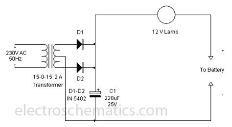 simple battery charger circuit diagram simple 12 volt charger circuit