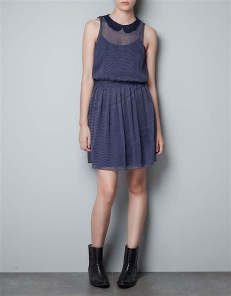 Collar Zara Dress zara dress with crochet pan collar in blue navy lyst