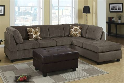 Furniture Sectional Couches by Poundex Radford F7263 Gray Microfiber Sectional Sofa In