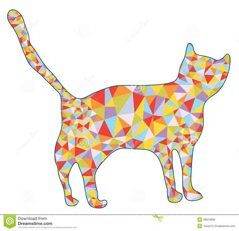 cat silhouette with mosaic design royalty free stock