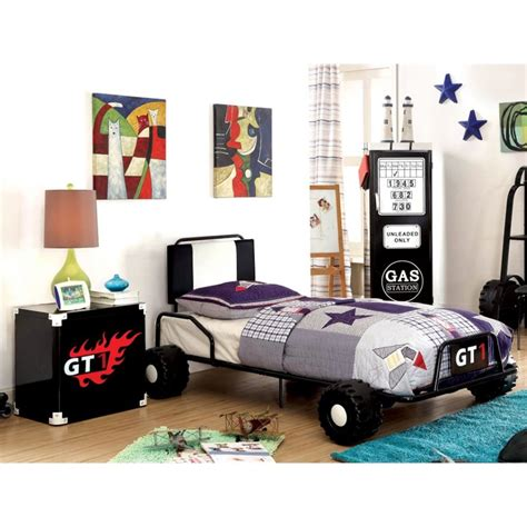 race car bedroom set furniture of america ramirez race car bedroom set in black