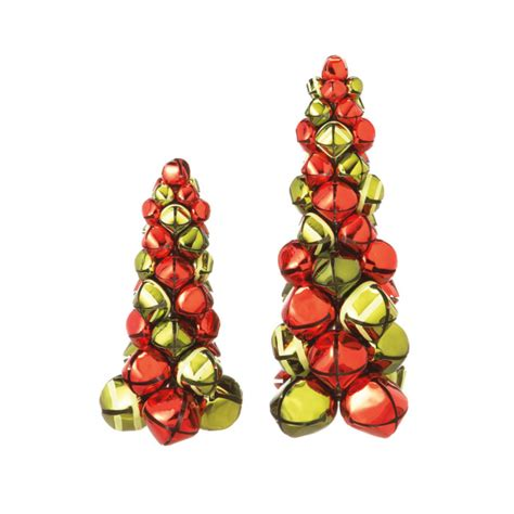 set of 2 decorative red green metal jingle bell tabletop