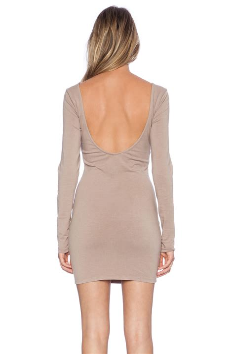 Dress Denim Spandex lyst bobi spandex low back mini dress in gray