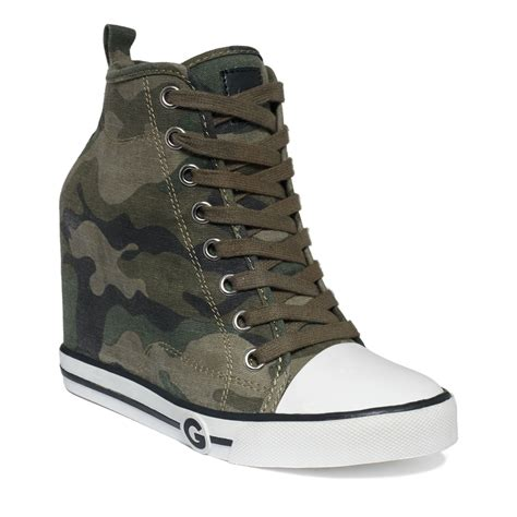 womens sneaker wedge g by guess womens majestey wedge high top sneakers in