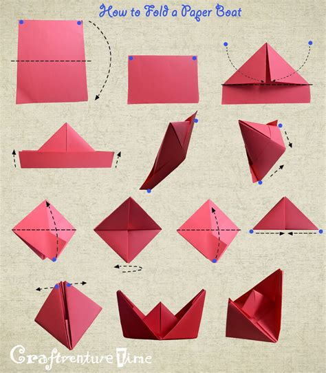 Folding Paper Boat - craftventure time diy fruit and veggies hats from paper