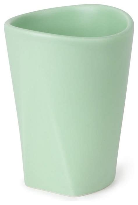 umbra mint green ceramic bathroom tumbler 3 25 quot x4 25