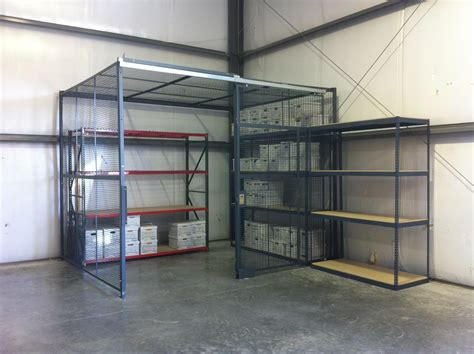 security cage for record storage warehouse rack and shelf