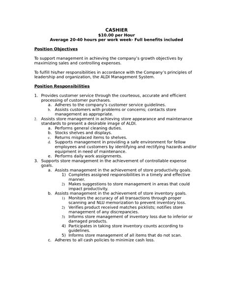 cashier resume sle responsibilities 12 cashier description for resume recentresumes