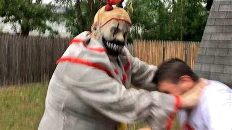 Dude Backyard by Creepy Clown From The Woods Attacks In Backyard