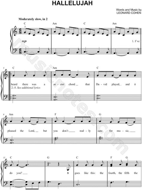 Hallelujah Sheet Piano Free Printable