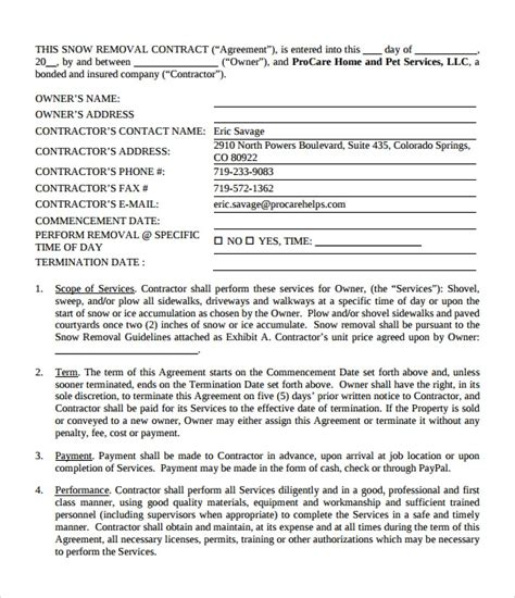 snow plowing contract templates     sample templates