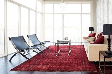 modern living room rugs red overdyed rug in a modern living room decoist
