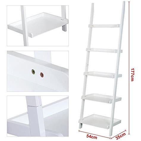 Go2buy Modern White Wood 5 Tier Leaning Ladder Shelf Leaning Ladder 5 Shelf Bookcase