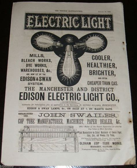 1886 Illustrated Advertisement For The Edison Electric The Light Company