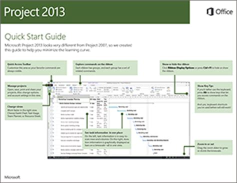 Project 2013 Quick Start Guide Project Microsoft Project 2013 Templates