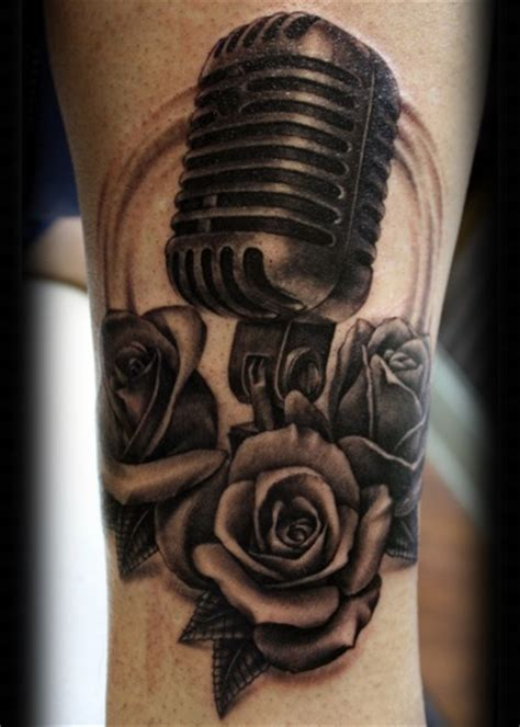 mic tattoo roses microphone tattoos