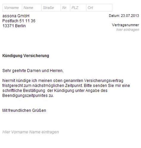 Musterbrief Versicherung Schadensmeldung Handy assona k 252 ndigungsschreiben herunterladen ausf 252 llen und absenden