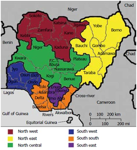 political map of nigeria ezilon maps map of nigeria showing the 6 geo political zones 36