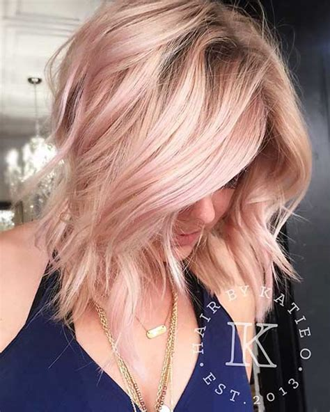 medium length hairstyles for straight hair rose gold layered bob 18 more latest short choppy haircuts for textured style