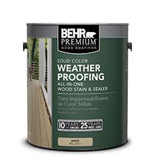 behr premium solid color weatherproofing    wood