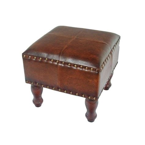 faux leather ottomans square faux leather ottoman in brown ywlf 2529 br