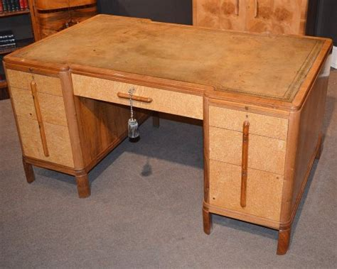 Art Deco Walnut Birds Eye Maple Desk Maple Desk