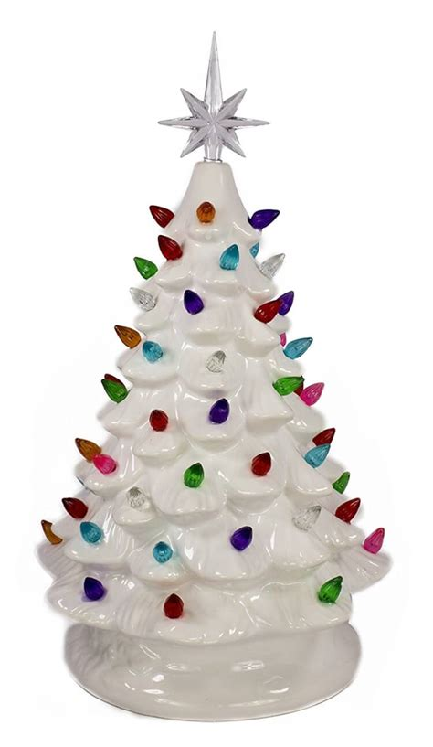 small ceramic light up christmas tree nostalgic vintage inspired christmas decor happiness is