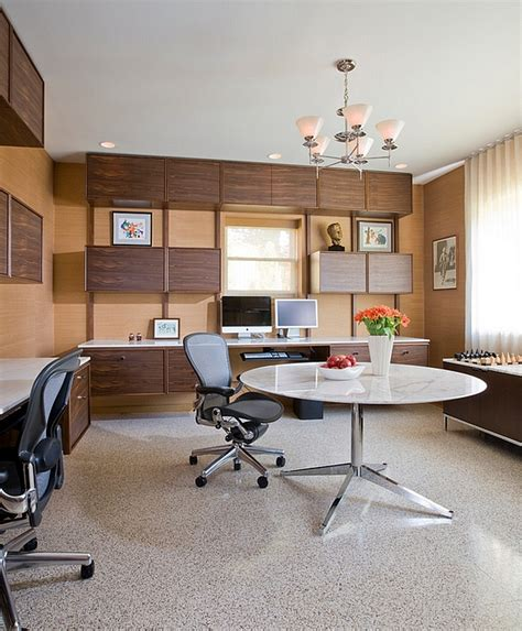 Custom floating cabinets and desks along with midcentury modern decor