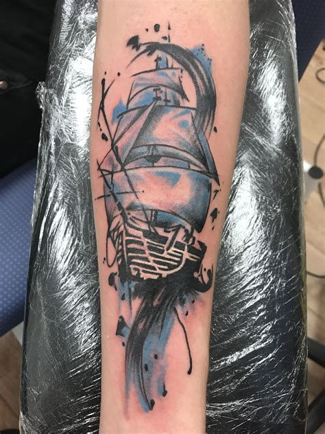 trash polka boat abstract ship tattoo watercolour trash polka kind of