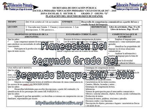 planeaciones y actividades de primaria planeaciones del segundo grado para el segundo bloque del