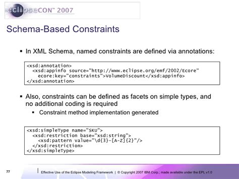 pattern constraint failed xml eclipsecon 2007 effective use of the eclipse modeling