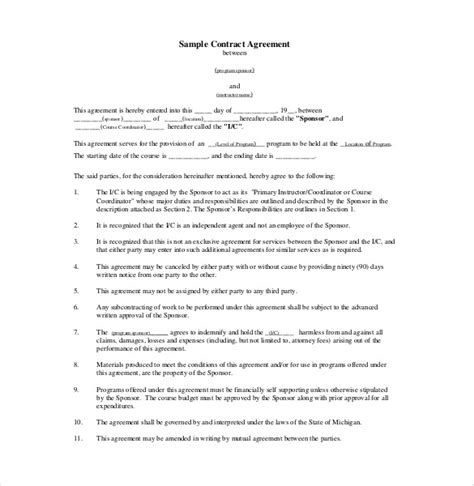 20  Legal Agreement Templates ? Free Sample, Example