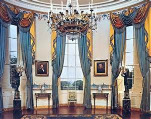 Oval Office Drapes blue room white house museum