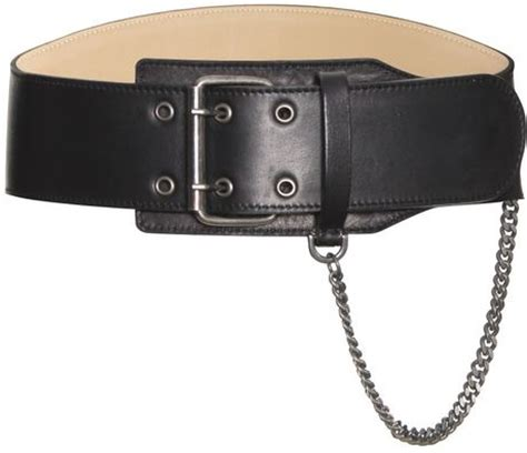 mcq by mcqueen biker chain leather belt in black