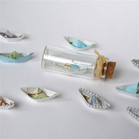How To Make Ship In Paper - tiny personalised paper ship in a bottle by made in words